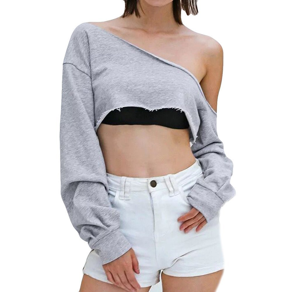 Amazon.com : Clearance!HOSOME Women Top Womens Summer Autumn Womens Long Sleeve Leaking Shoulder Fashion Bllouse T-Shirt Blouse Tank Tops : Grocery ...