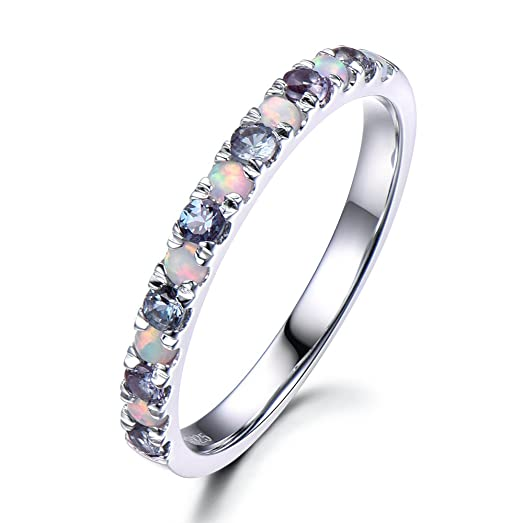 color change alexandrite opal wedding band 925 sterling silver half eternity white gold stacking ring - Alexandrite Wedding Ring