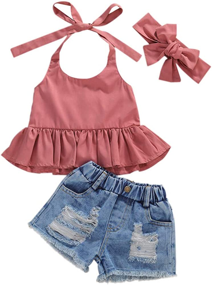 Toddler Kids Little Girls Shorts Outfits Ruffle Halter Crop Top Shirt /& Ribbed Jean Shorts Fashion Summer Clothes Sets