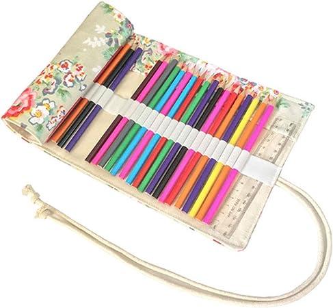 Estuche escolar para lápices de color y fieltro, neceser rodillo en lienzo bolsa de lápiz con gran capacidad diseño floral para mesa Ecole talla única 48 trous: Amazon.es: Hogar