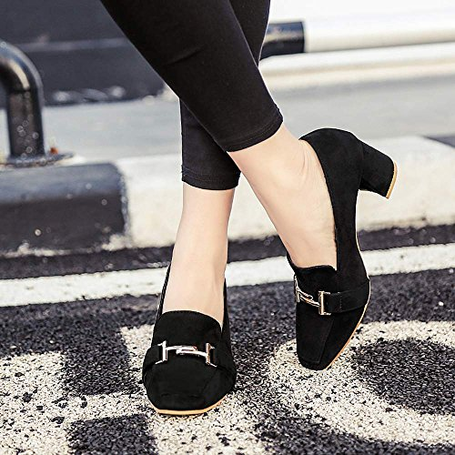 Pumps Ladies Dress Work High Party Fabric Women Chunky Heels Shoes Black eshion for Evening Jade zwfn5qZg