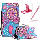 Rope Leather Case for iPhone SE,Stand Wallet Flip Case for iPhone 5S,Herzzer Bookstyle Stylish 3D Butterfly Flower Pattern Magnetic PU Leather with Soft Silicone Inner Back Case for iPhone SE/iPhone 5/5S