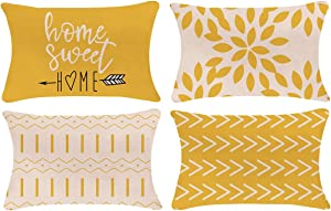 YCOLL Pillow Covers 12x20 Set of 4, Modern Sofa Throw Pillow Cover, Decorative Outdoor Linen Fabric Pillow Case for Couch Bed Car 30x50cm