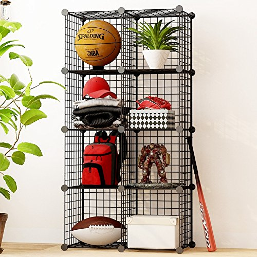 KOUSI Storage Cubes Wire Grid Modular Metal Cubbies Organizer Bookcases and Book Shelves Origami MultiFuncation Shelving Unit, Capacious & Customizable, Black, 8 Cubes (Wire Shelving Grid)