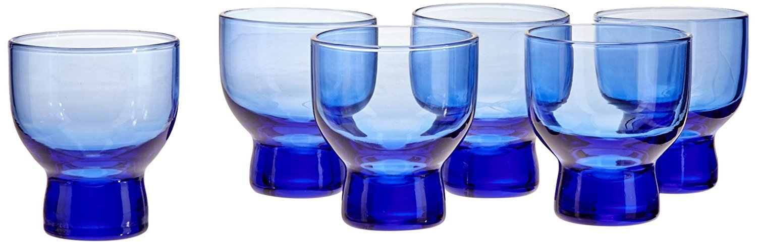 Happy Sales HSSC-6BL01, Set of 6 Cold Glass Sake Cup Cups Blue Glass