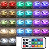 20PCS Submersible LED Lights Popular Waterproof Small Battery Operated Single Mini Led for Crystal Vases Centerpiece Decoration ... (Two Pack Two Remote)