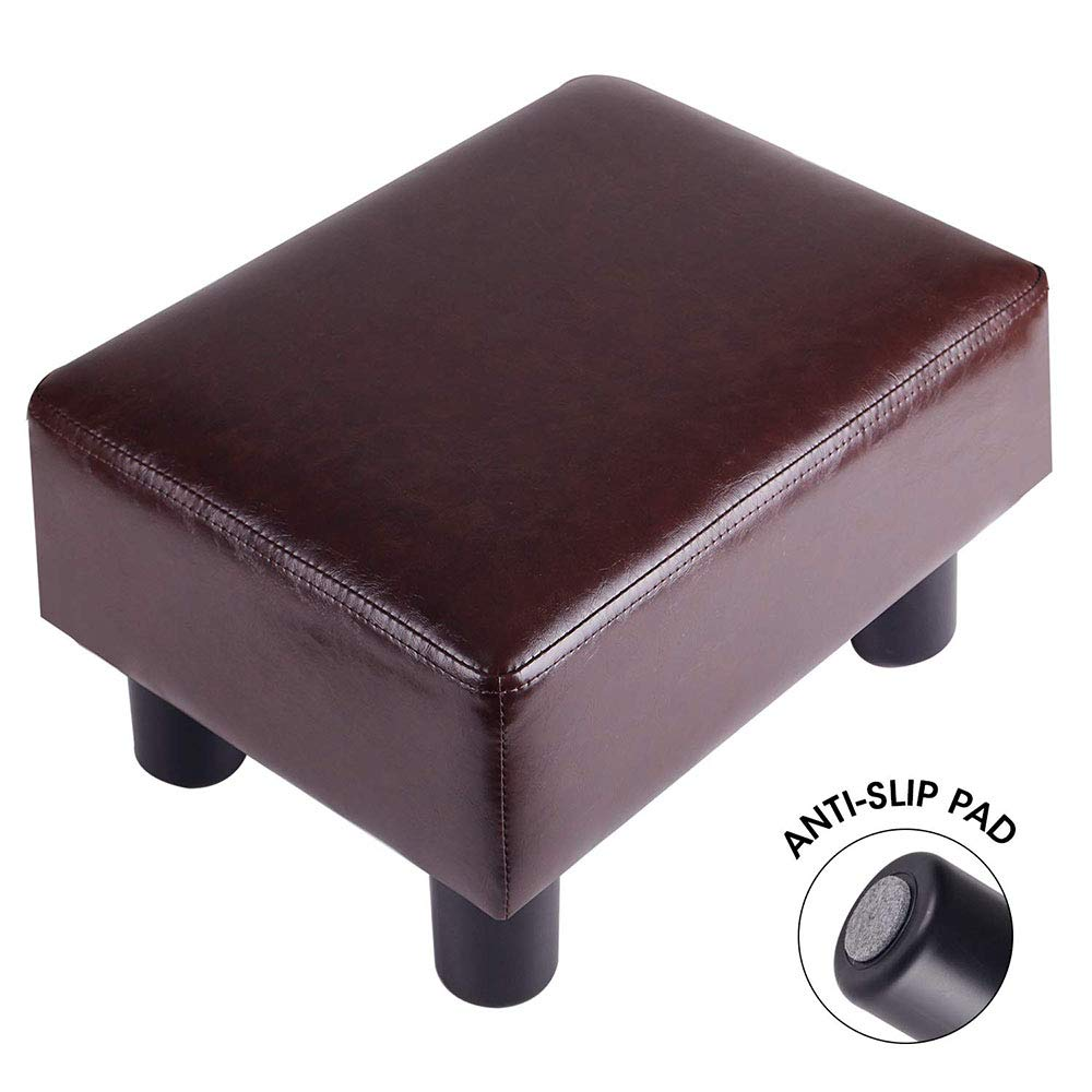 TOUCH-RICH Footrest Small Ottoman Stool PU Leather Modern Seat Chair Footstool, Brown by TOUCH-RICH
