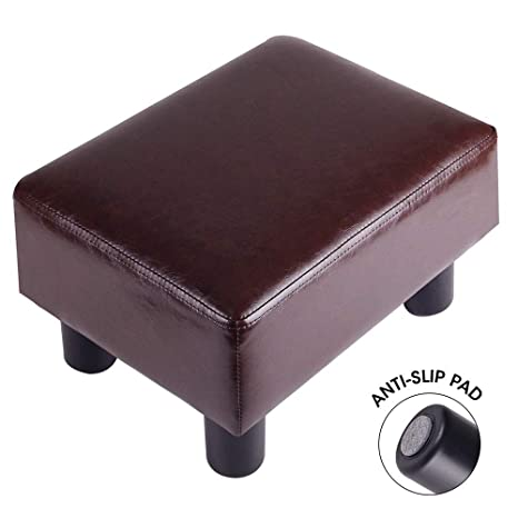 Groovy Touch Rich Footrest Small Ottoman Stool Pu Leather Modern Seat Chair Footstool Brown Dailytribune Chair Design For Home Dailytribuneorg