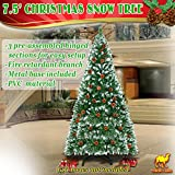 Strong Camel 7.5' Green Snow Tipped Christmas Tree with 42 pinecones Artificial Realistic Natural Branches -Unlit 230CM 1220 Tips With Steel Stand