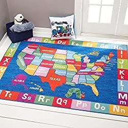 "Home Dynamix Eric Carle Elementary USA Map Area Rug 4'11"" x6'6, Graphic/Print USA Map Blue/Green/Orange"