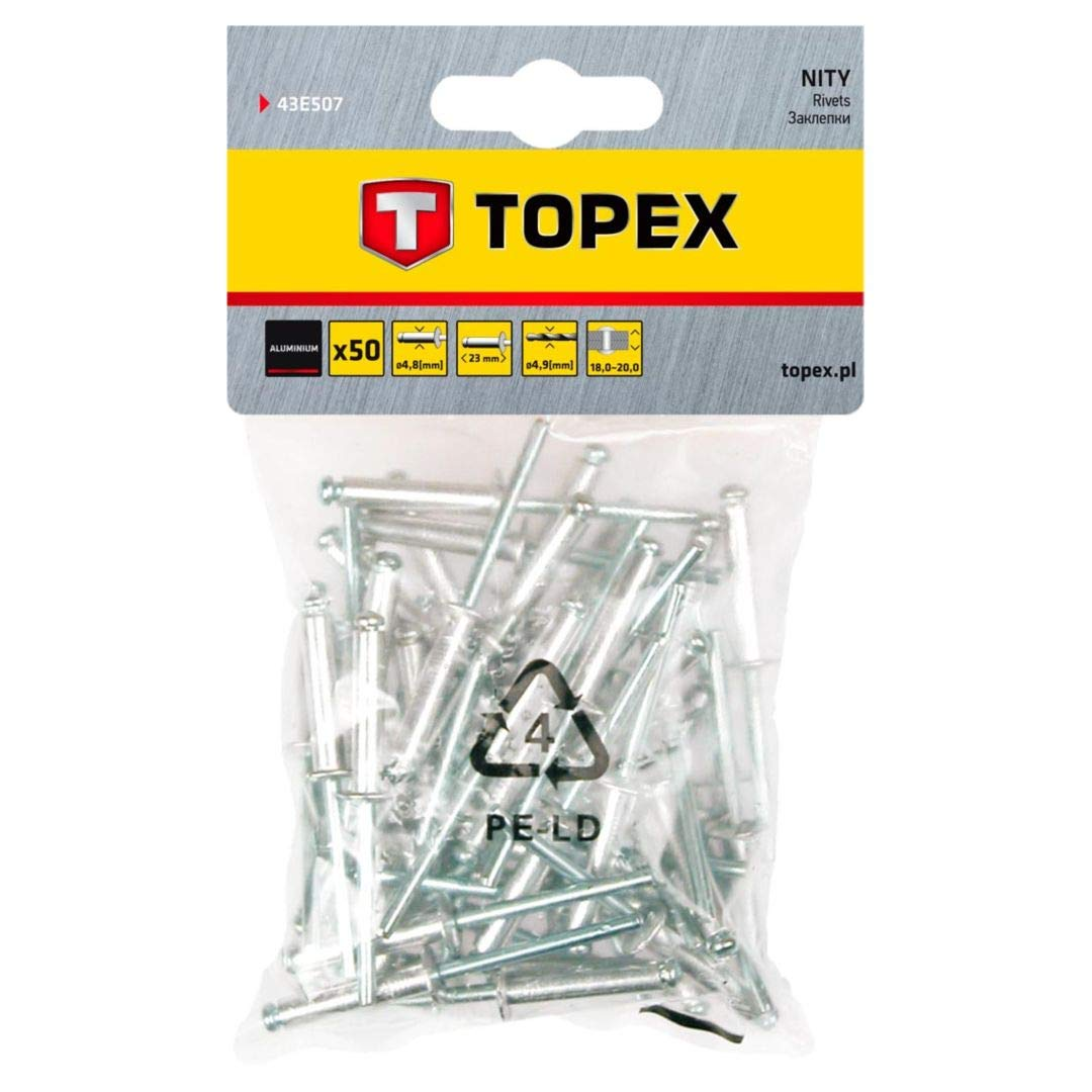 Set Piezas Topex 43E503 Pack de 50 remaches aluminio, 4,8 x 12,5 mm