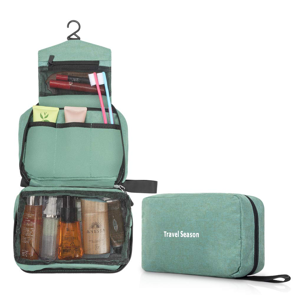 CHUHUAYUAN Hanging Toiletry Bag,Portable Travel Mini Cosmetic Bag for Women Men,Multifunctional Makeup Bag and Waterproof Travel Hanging Organizer Bag,Lightweight Compact. Green