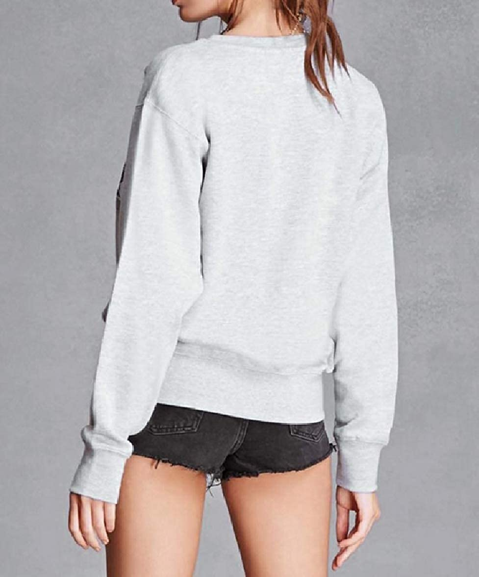 Tingwin Womens Embroidery Long Sleeve Crew Neck Pocket Sweatshirt
