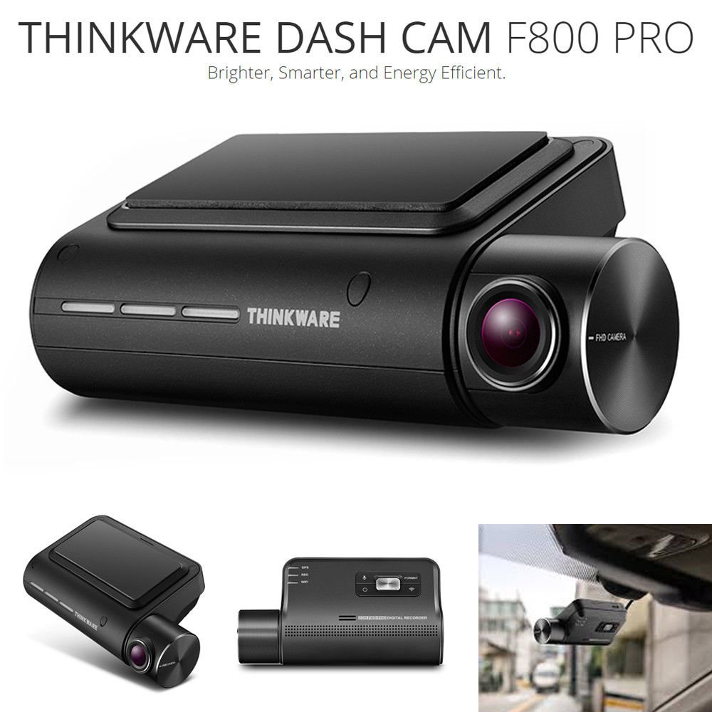 THINKWARE F800 Pro Dash Cam w/Cigarette Lighter Adapter & 32gb SD Card 1080P HD Super Night Vision2.0 Time Lapse GPS WiFi