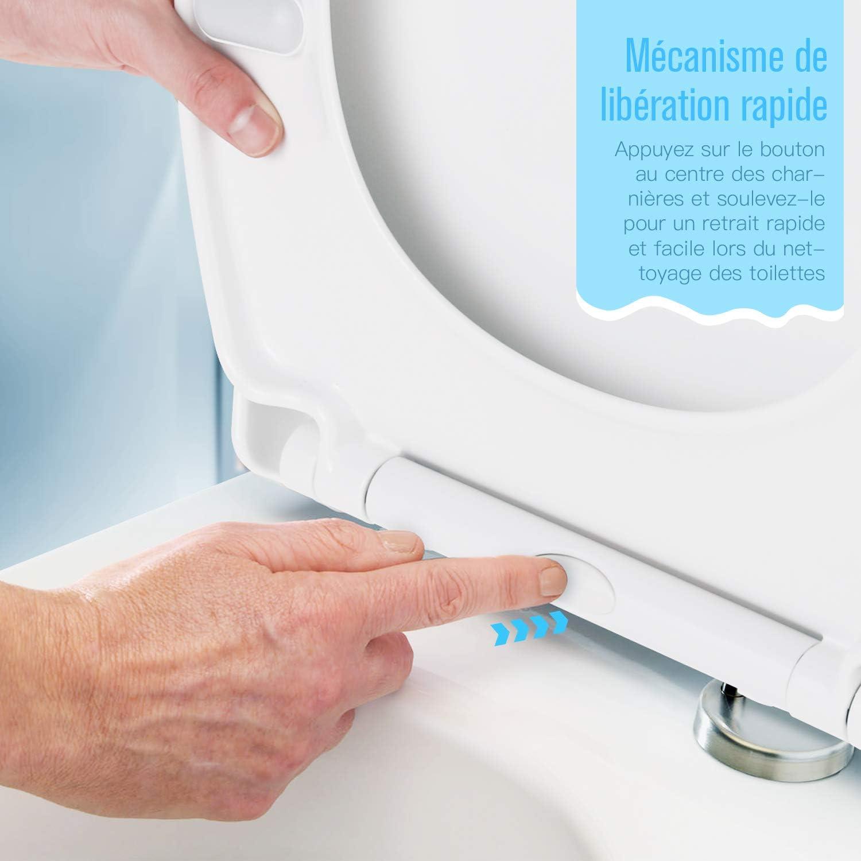 Dalmo DBTS07TY Si/ège de Toilette Rond avec Blocage Rapide et Pare-chocs Antid/érapants Rond et Silencieux Cuvette de Toilette Facile /à Installer et /à Nettoyer Abattant WC
