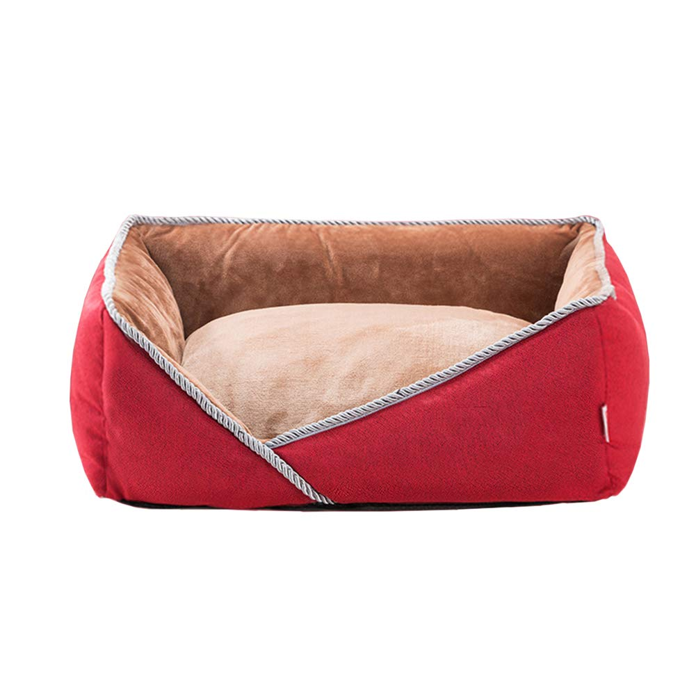 80×60×20cm ZXL Dog Bed Orthopedic Pet Bed, Warmth Soft Memory PP Cotton, Offers Head, Neck and Joint Support, Red (Size   80×60×20cm)