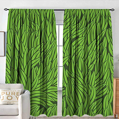 NUOMANAN Blackout Curtains for Bedroom Green,Hand Drawn Style Grass Pattern Abstract Simplistic Environmental Growth Eco,Lime Green Emerald,Darkening and Thermal Insulating Draperies 54