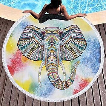 GSYAZTT N Elefante Toallas de Playa Redondas Toallas de Microfibra Toallas Manta de Picnic Manta 150 Cm Toallas de Playa para Adultos Elephant 4 150X150Cm: ...