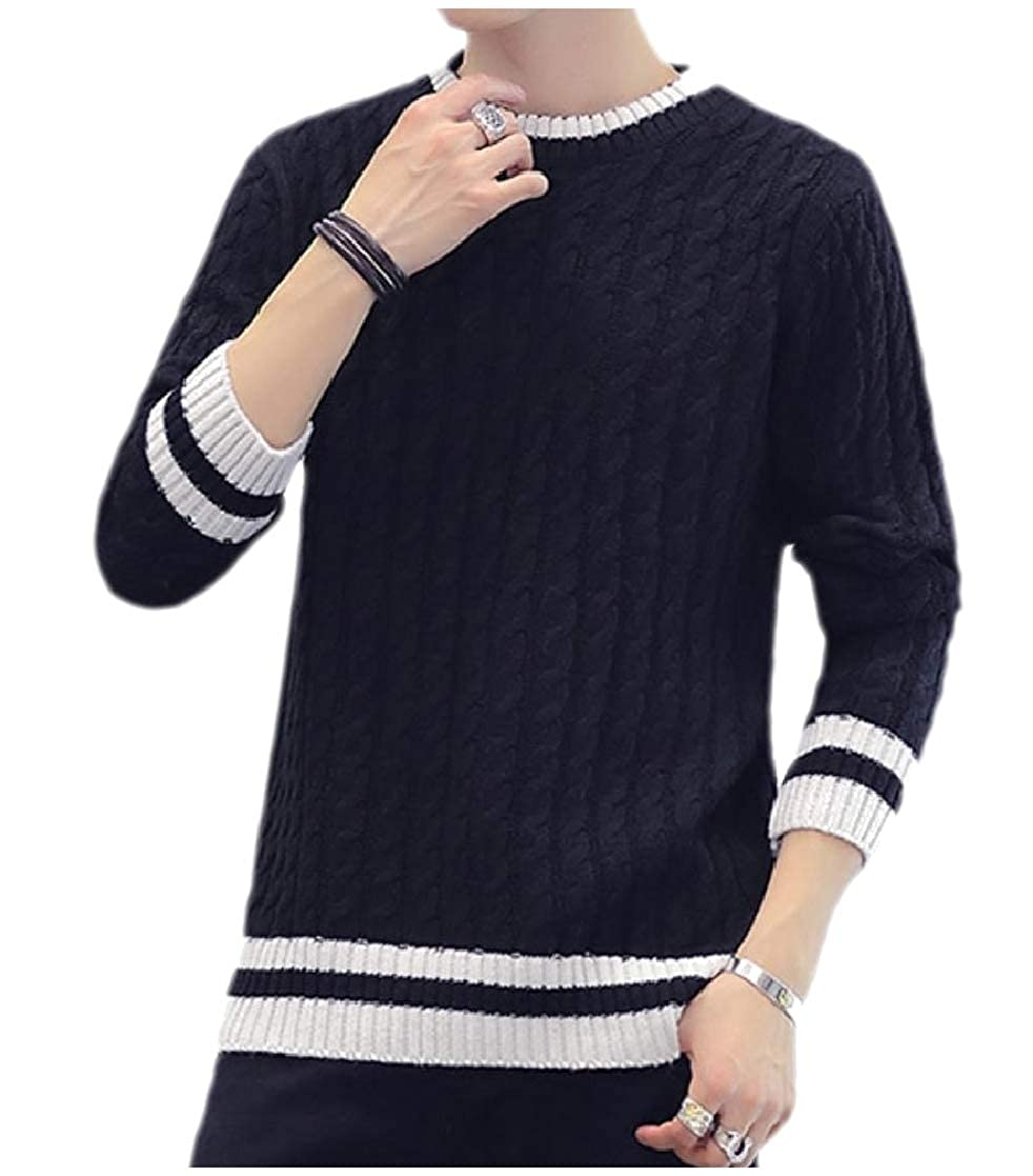 YUNY Mens Solid Round Neck Long-Sleeve Stripe Pullover Knitted Sweater Black M