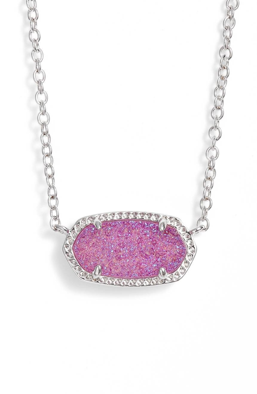 Kendra Scott Signature Elisa Violet Drusy Silver Pendant Necklace