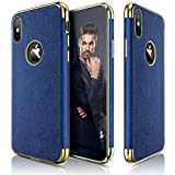 iPhone X Case, LOHASIC [Premium Leather] Ultra Slim & Thin Luxury Textured Back Cover Soft Flexible Full Body Electroplate Frame Non-Slip Shockproof Case for Apple iPhone X 10 - [Ink Blue]