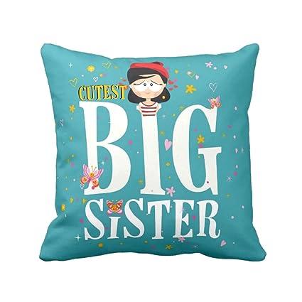 YaYa CafeTM Birthday Bhaidooj Gifts For Sister Cutest Big Printed Cushion Cover 12 X