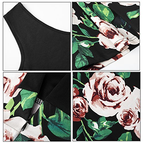 Yidarton Women's Summer Casual V Neck Flare Floral Contrast Evening Party Short Mini Dress Black S by Yidarton (Image #4)