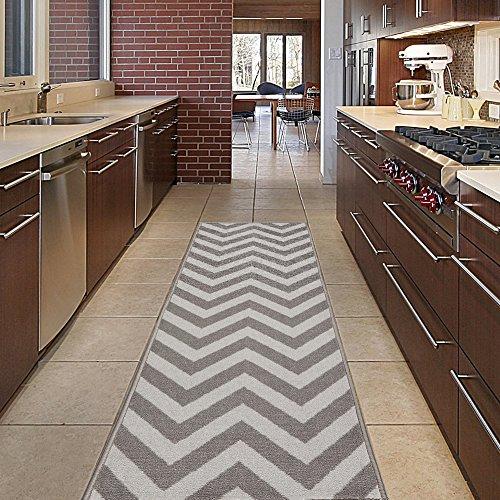 Diagona Designs Contemporary Chevron Design Non-Slip Kitchen / Bathroom / Hallway Area Rug Runner, 31