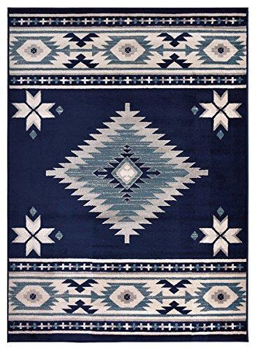 Rug Styles AMACMF8004-8X10 Southwestern Navy Blue Area Rugs, 7