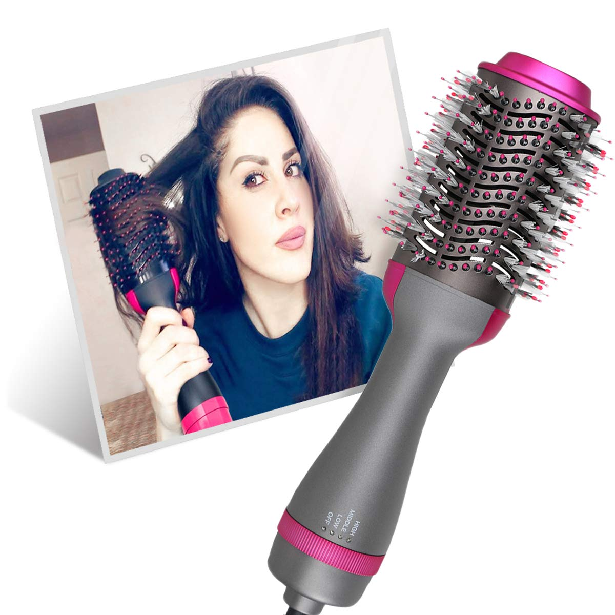 Hair Dryer Hot Air Brushes & Volumizer, Upgrade Salon Negative lon Hair Styling Brush Tool - Electric Blow Dryer for Straight, Curly & Wet hair, Ideal Gift (Cool-Gun) : Beauty