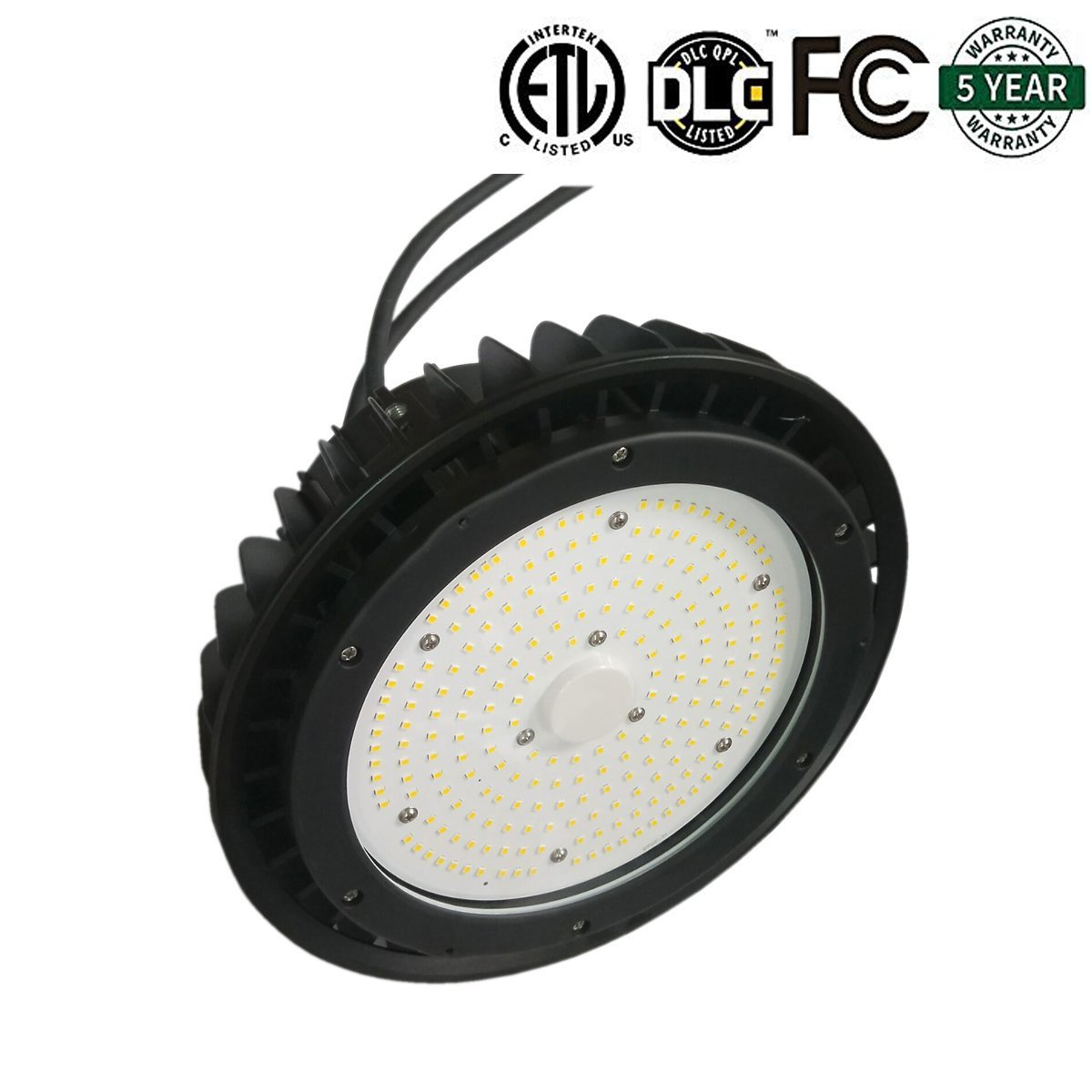 SDYK, 150w UFO High Bay LED Lights, 1-10v Dimmable UFO high Bay,5000K 19500lm,with Hook.0.3m Cable, Safety Chain, 5 Years Warranty IP65 ETL DLC4.2