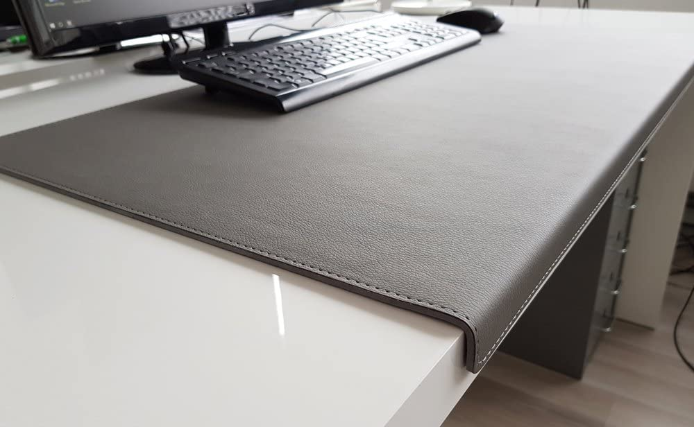 Angled Desk Pad with Edge Protection Soft Lux Leather 70 x 47 Grey