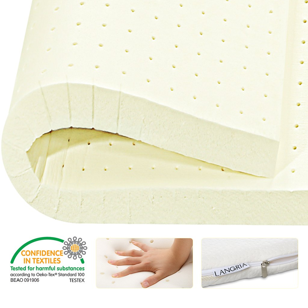 LANGRIA 2'' Plush Latex Mattress Topper with Removable Bamboo Fabric Zippered Cover, Medium Feel, OEKO-TEX Certified, Queen Size