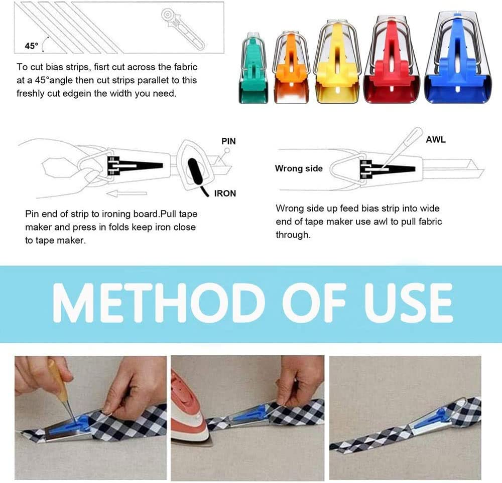 Bias Tape Maker Set Neo Loons Sewing Fabric Bias Tape Maker Tool Kit 6MM 9MM 12MM 18MM 25MM 5 Sizes DIY Patchwork Sewing Accessories Tools Set for Quilt Binding