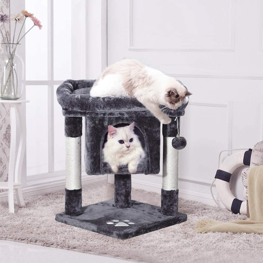 Cat Tree Mq Cat Tower Activity Centre Furniture 23 With Sisal Covered Scratching Post Large Padded Plush Perch Spacious Condo 2pcs Replacement Fur Balls Play House For Kitten Adult Cats Smoky