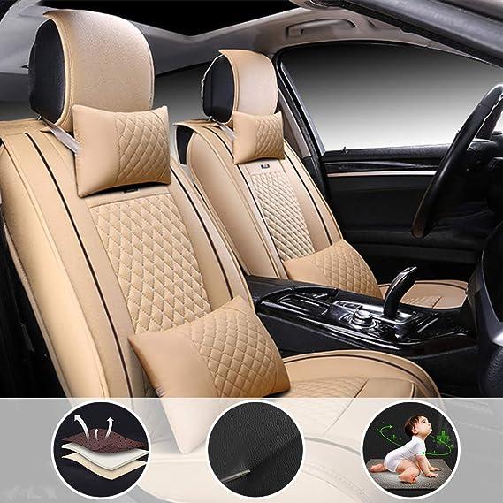 Shanhua Auto Sitzbezüge Set Universal Auto Schonbezüge Passend Für M Azda M Azda6 Mit Kopfstütze Und Lendenkissen Beige Auto