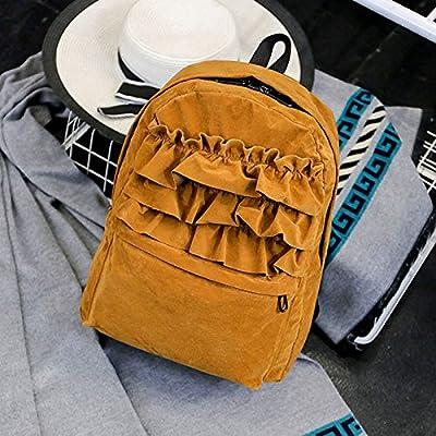 Mefly Flouncing Fashion Sac à dos dentelle velours solide aux étudiants de l'école Sac à dos Sacs de voyage Livre pour adolescentes