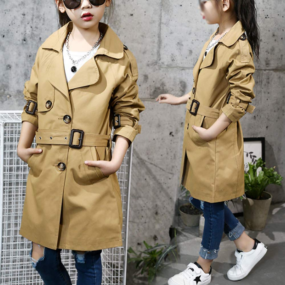 Gooket Little Big Girls Child Kid Lapel Single Breasted Outwear Pea Trench Coat with Belt
