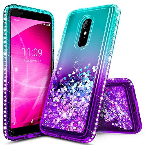 Revvl 2 Case (T-Mobile), NageBee Glitter Liquid Quicksand Waterfall Floating Flowing Sparkle Shiny Bling Diamond Shockproof Girls Cute Case for (T-Mobile) Alcatel Revvl 2 (2018) -Aqua/Purple