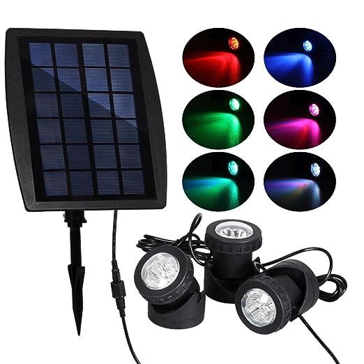 T-SUN Solar Pond Lights Solar Powered RGB LED Spotlights Outdoor Security Light Solar  sc 1 st  Amazon.com & Amazon.com : T-SUN Solar Pond Lights Solar Powered RGB LED ...