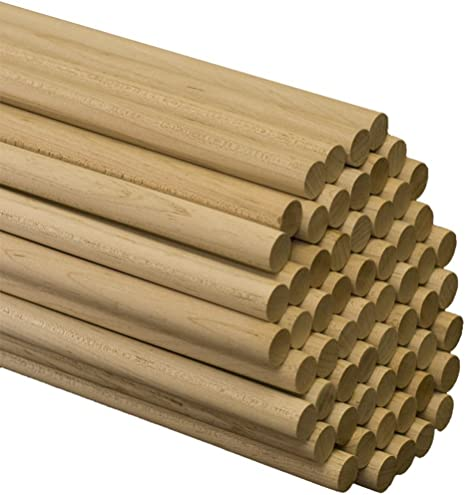 Wooden Dowel Rods 100 Pieces by Woodpeckers for Crafts and DIY/'ers 1//2 x 48 Inch Unfinished Hardwood Sticks