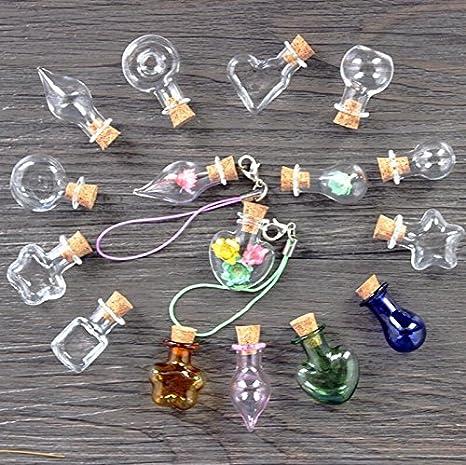 Omeny 10 piezas mini frascos de botellas de cristal con botella de artesanía de la nota