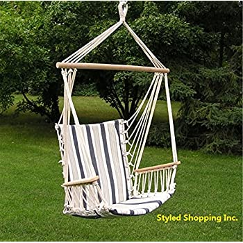 Amazon Com Deluxe Harmony Blue And White Hanging Hammock