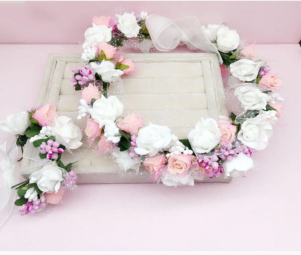 &Crown flower headdress Flower Wreath , Headband Flower Garland Handmade Wedding Bride Party Ribbon Headband Wristband Hairband flower wreath crown ( Color : G ) WYZ