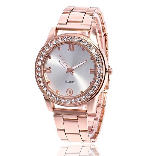 Reloj Analógico De Cuarzo Reloj Analógico Cristal Neutro Redondo Decoración  del Hogar Oro Rosa A3  Amazon.es  Relojes bec50cb161ae