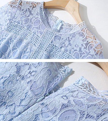 Valin A Vestido Azul Para O Mujer Corte Trapecio En Manga Corta AXAParO