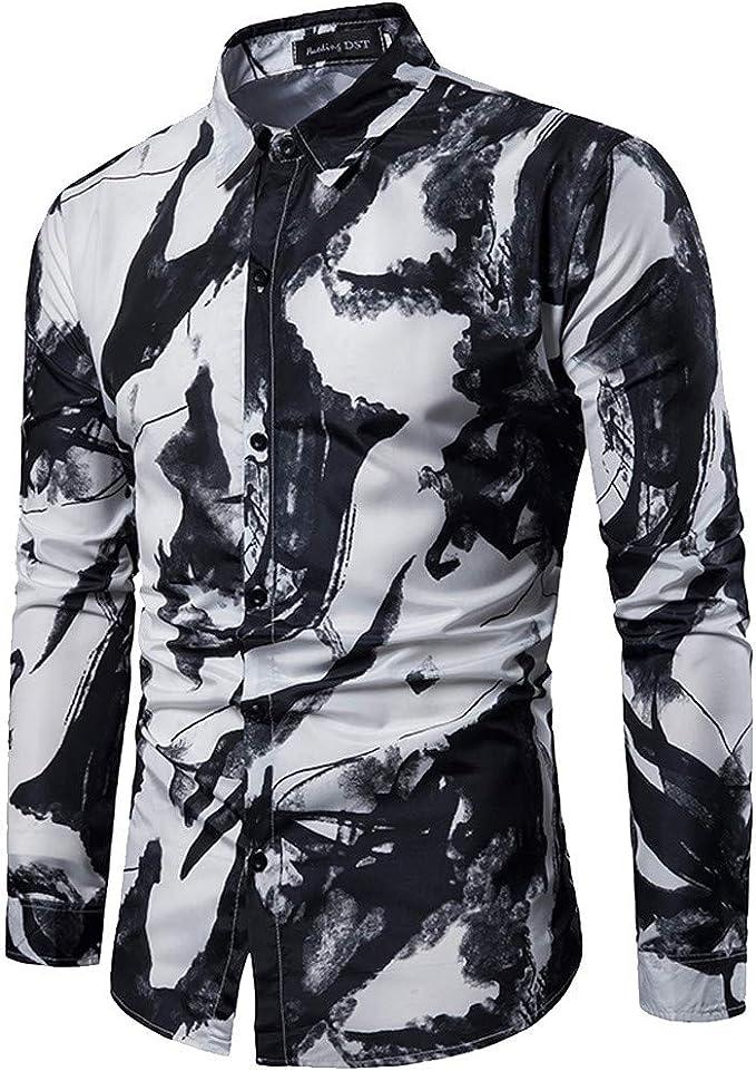 Coersd Mens Autumn Fashion Shirt Casual Long Sleeve Beach Top Loose Casual Shirt Blouse