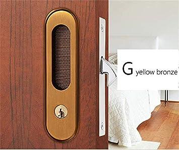 Kutera Mute cerradura de puerta corredera con manija oculta para interior de puerta con cerradura antirrobo moderna para muebles de madera: Amazon.es: Bricolaje y herramientas