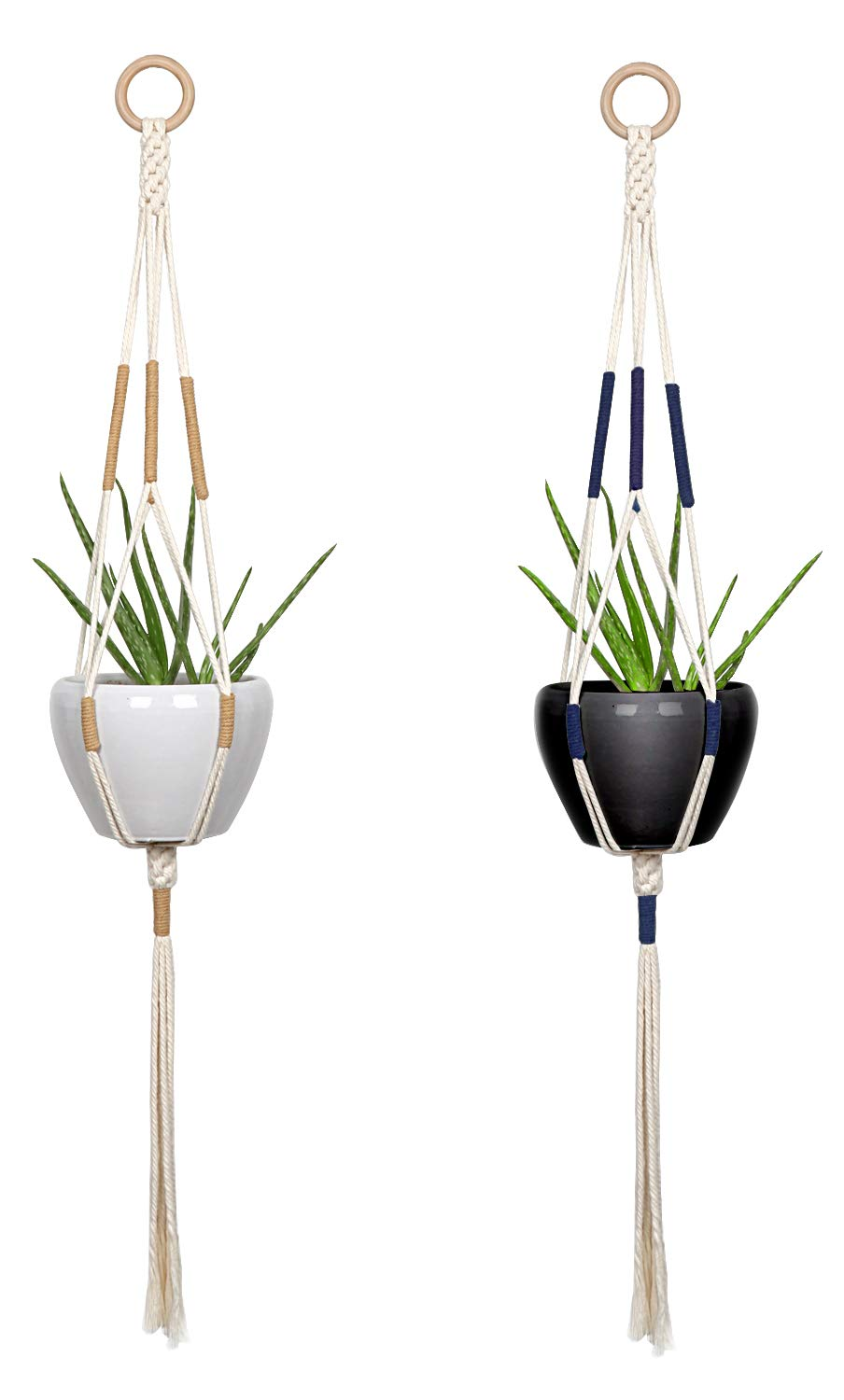Macrame Plant Hangers - Hanging Planter Indoor Outdoor - Cotton Plant Basket Holder with Khaki and Blue in Details 41 Inch, Boho Decor