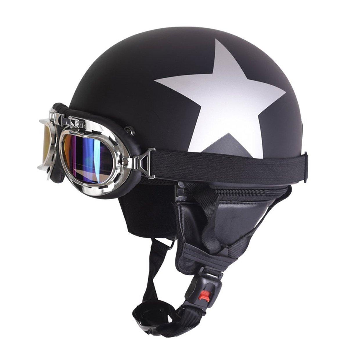 Amazon.es: FuriAuto casco con gafas de motorista motocicleta crucero de casco de moto viseras proteccion UV